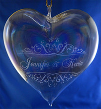 Personalized Sweethearts Blown Heart Ornament