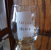 Etched Alabama Silhouette Stemless Wine Glass
