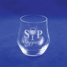 Etched Sip Happens Stemless Wine Glass