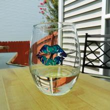 Blue Tie Dye Lips Stemless Wine Glass