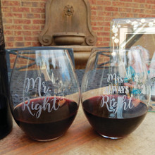 Mr. Right & Mrs. Always Right Stemless Wine Pair