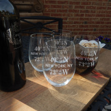 Personalized RIEDEL Large Stemless Wine Glass with Coordinates