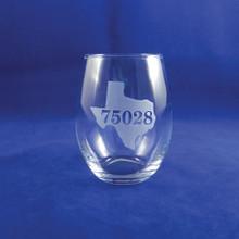 Custom State Silhouette and Zipcode Wine Glass