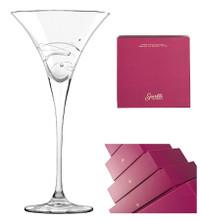 Flared Sparkle Martini Glasses, Set of 2 by Barski with Presentation Box