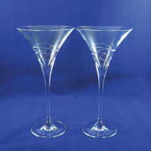 Personalized Sparkle Martini Glasses, Set of 2 by Barski