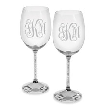 Personalized Clear Diamond Wine Goblets Pair