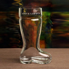 1.0 L Beer Boot Mouthblown with Text Engraving (Rounded Toe) | The Crystal Shoppe