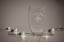 Personalized Basra Crystal Vase with Hearts