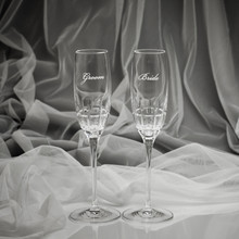 Harper Flutes from Marquis by Waterford Crystal Engraved Toasting Flutes