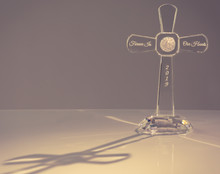 Etched Crystal Cross by Oleg Cassini