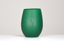 Personalized Green Frosted Stemless Wine