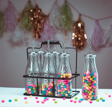 Personalized Unique Gift, Set/6 Glass Milk Bottles in Carry Container, Etched Children's Gift, Engraved Birthday Gift $29.75