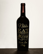Etched Bottle of Wine