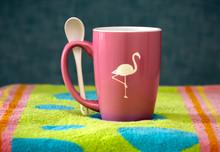 Pink Ursah Mug with Flamingo