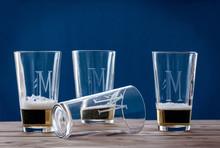 Personalized hand-/cut Pint Glasses set/4