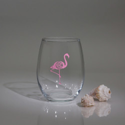 Monogrammed Stemless Wine Glass With Pink Flamingos