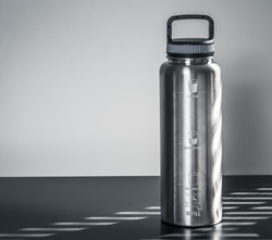 Engraved Brushed Chrome Thermal Bottle
