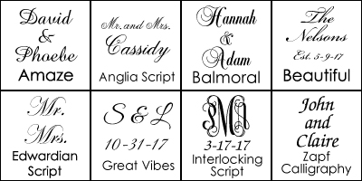 Font Choices for Wedding Reception Plate
