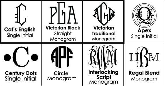 Font Choices for Monogrammed Drink Sets