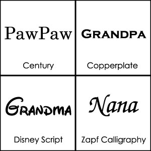 Font Choices for Personalized Gifts for Grandparents