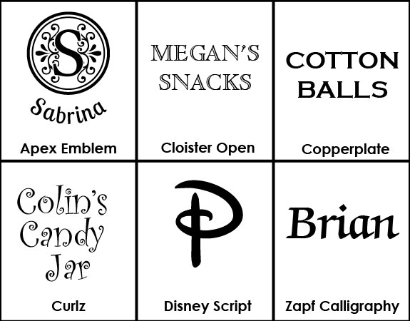Font selection for personalized glass jars