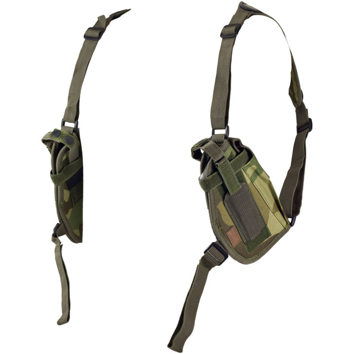 Woodland Camo Double Draw Shoulder Holster - Left Side