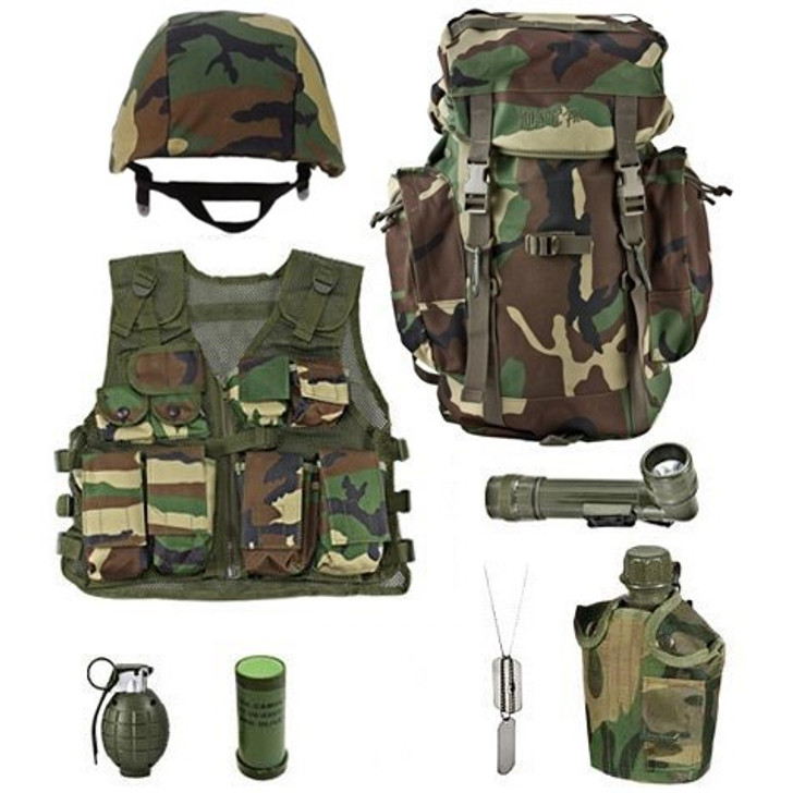 Realistic Sounding Toy Grenade, M88 Replica Helmet with Woodland Camouflage Cover, Army Style Dog Tags with Engraving, Kids-Army Woodland Camouflage Rucksack, One Quart Canteen with Woodland Camouflage Cover, Two Color Woodland Face Paint Stick, Kids Army Camouflage Combat Vest - Woodland, Angle Flashlight Olive Drab