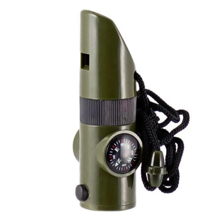 Includes: Survival Whistle, Compass, Thermometer, LED Light, Signal Mirror, & Magnifying Glass