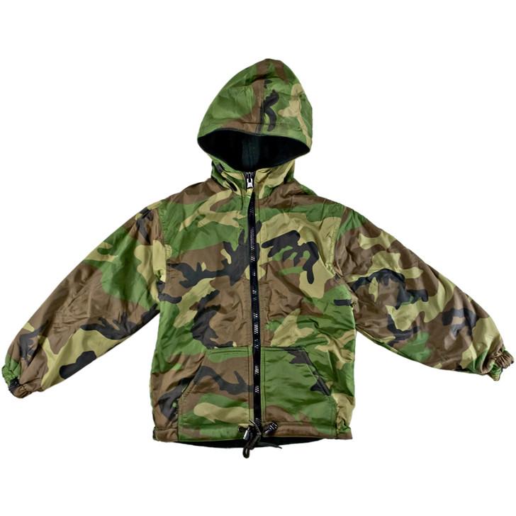 Kids Reversible Jacket with Hood - Woodland Camo - Front
