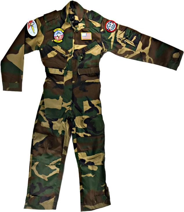 Kids Top-Gun Style Flight Suit - Woodland Camo