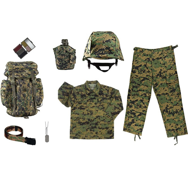 M88 Replica Helmet with Woodland Digital Camo Cover, Army Style Dog Tags with Engraving, Five Color Face Paint Compact, One Quart Canteen with Woodland Digital Camo Cover, Kids Woodland Digital Adjustable Belt, Kids-Army Woodland Digital Rucksack, Kids Woodland Digital BDU Pants, Kids Woodland Digital BDU Shirt