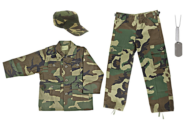Kids Military Drill Cap - Woodland Camo, Army Style Dog Tags with Engraving, Kids Woodland Camouflage BDU Shirt, Kids Woodland Camouflage BDU Pants