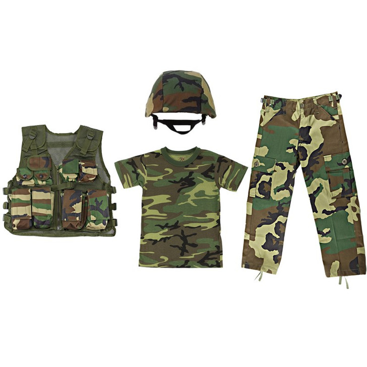 M88 Replica Helmet with Woodland Camouflage Cover, Kids Army Camouflage Combat Vest - Woodland, Kids Woodland Camouflage T Shirt,  Kids Woodland Camouflage BDU Pants