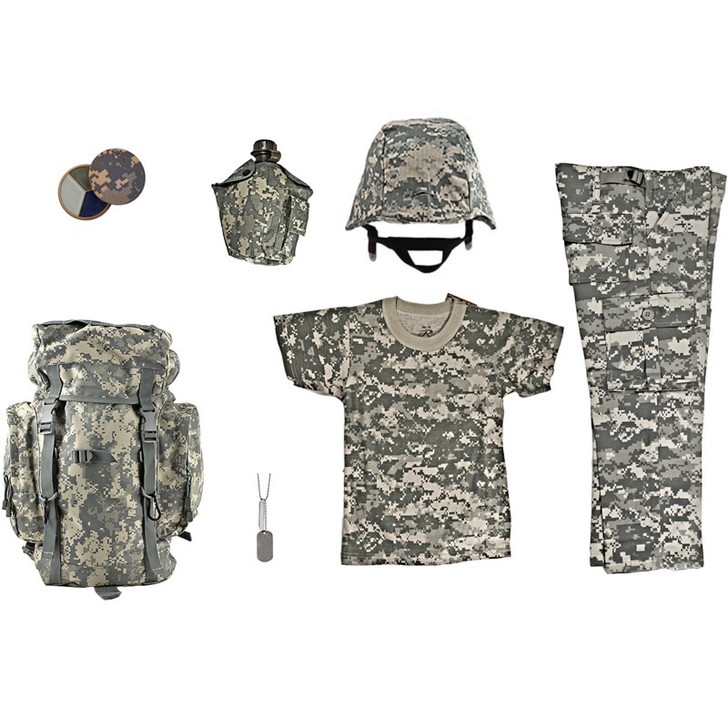 ACU Face Paint Compact, M88 Replica Helmet with ACU Digital Camouflage Cover, Kids-Army ACU Digital Camouflage Rucksack, Kids ACU Digital Camouflage BDU Pants, Kids ACU Digital Camouflage T Shirt, Army Style Dog Tags with Engraving, One Quart Canteen with ACU Digital Camouflage Cover