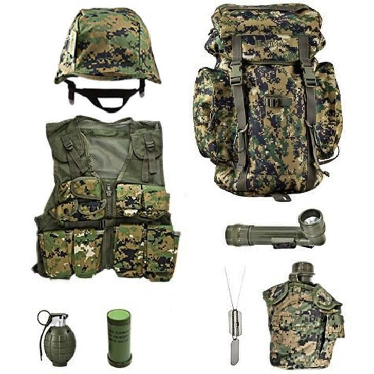 M88 Replica Helmet with Woodland Digital Cover, Kids-Army Woodland Digital Combat Vest, Kids-Army Woodland Digital Rucksack, One Quart Canteen with Woodland Digital Camo Cover,  Angle Flashlight, Two Color Face Paint Stick, Army Style Dog Tags with Engraving and Rubber Silencers, Toy Hand Grenade with Realistic Sounds and Removable Pin