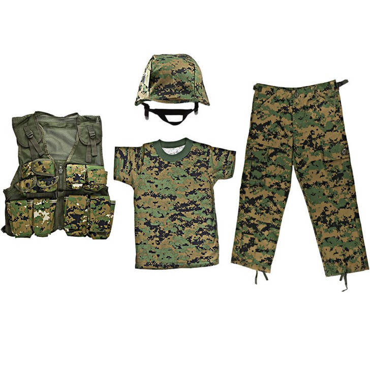 M88 Helmet with Woodland Digital Cover, Kids-Army Woodland Digital Combat Vest, Woodland Digital Camo T Shirt, Woodland Digital BDU Pants
