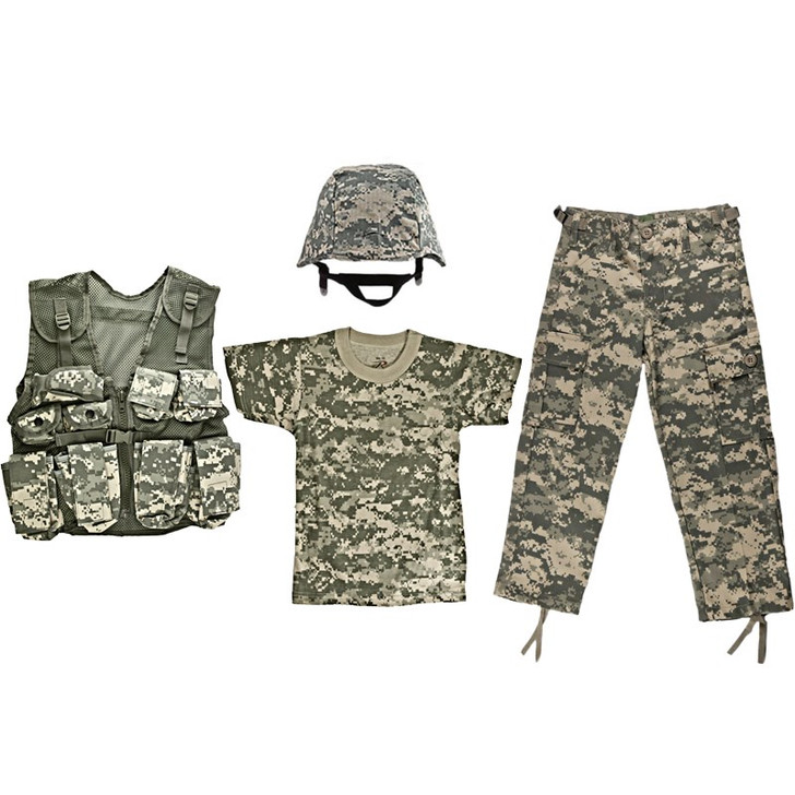 Kids ACU Digital Camouflage T Shirt, Kids ACU Digital Camouflage BDU Pants, M88 Replica Helmet with ACU Digital Camouflage Cover, Kids Army Camouflage Combat Vest - ACU Digital