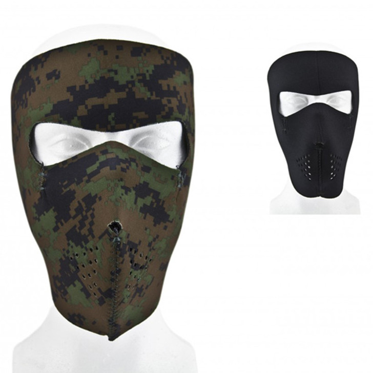 Reversible Neoprene Facemask - Black and Woodland Digital Camo
