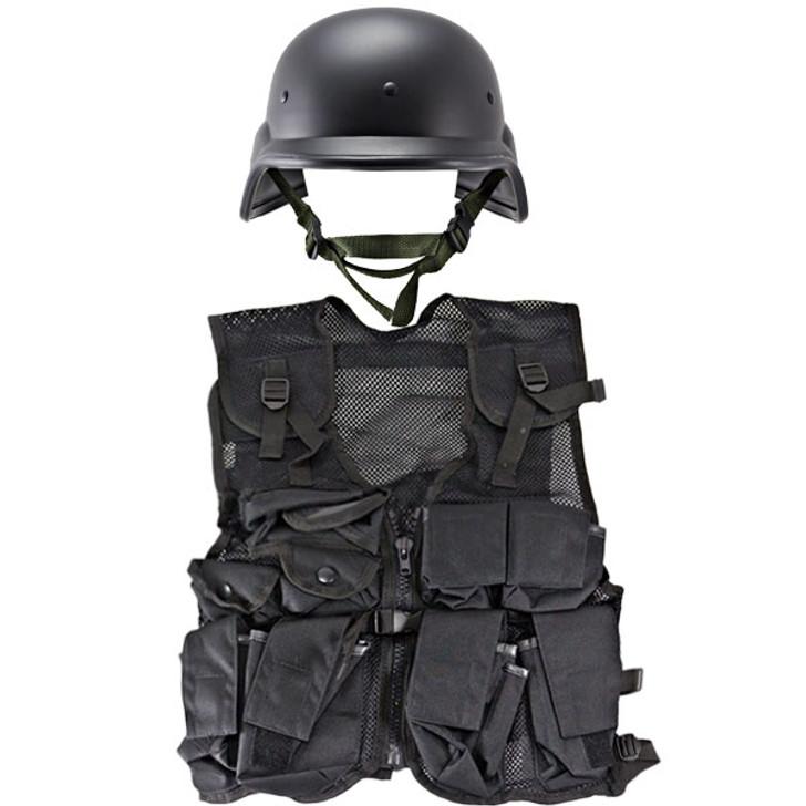 M88 Replica Helmet - Black, Kids Army Combat Vest - Black