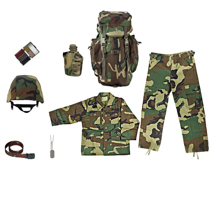M88 Replica Helmet with Woodland Camouflage Cover, Army Style Dog Tags with Engraving, Kids Woodland Camouflage Adjustable Belt, Kids Woodland Camouflage BDU Shirt, Kids Woodland Camouflage BDU Pants, Kids-Army Woodland Camouflage Rucksack, One Quart Canteen with Woodland Camouflage Cover, Five Color Woodland Face Paint Compact