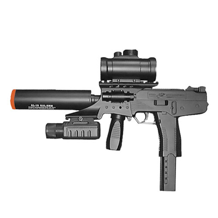 DOUBLE EAGLE UZI SPRING PISTOL WITH LASER, FLASHLIGHT, RED DOT SCOPE AND SILENCER