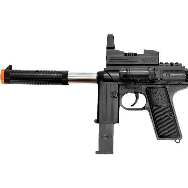Silenced Spring Airsoft Gun with Laser and Flashlight