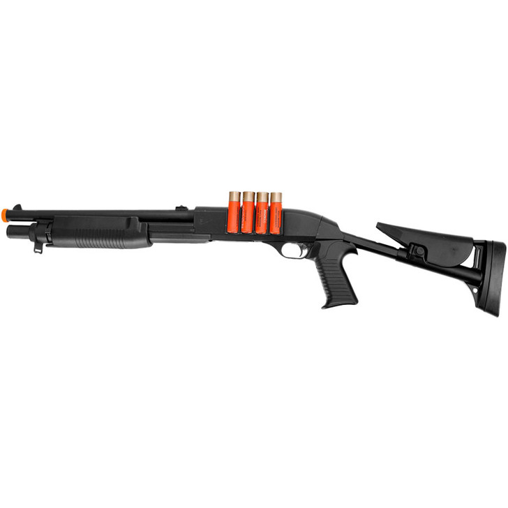 Pistol Grip Airsoft Pump Shotgun with Shells and Adjustable Stock