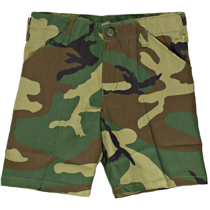 Kids BDU Shorts - Woodland Camo - Front