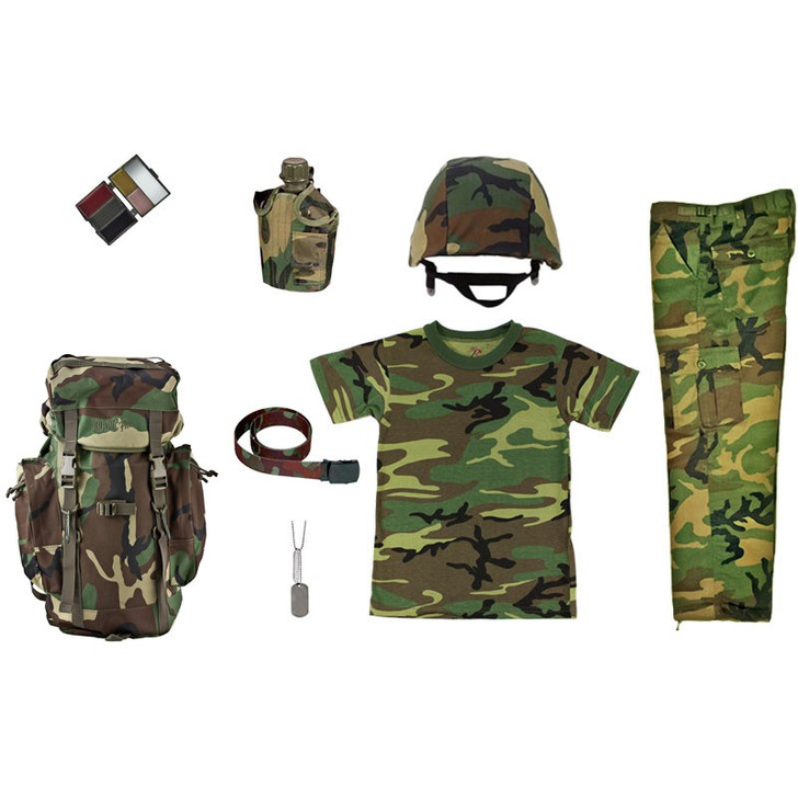 M88 Replica Helmet with Woodland Cover, Army Style Dog Tags with Engraving, Five Color Woodland Face Paint Compact, Kids Woodland Camouflage T Shirt, Kids Woodland Camouflage BDU Pants, Kids-Army Woodland Camouflage Rucksack, Kids Woodland Camouflage Adjustable Belt, One Quart Canteen with Woodland Camouflage Cover