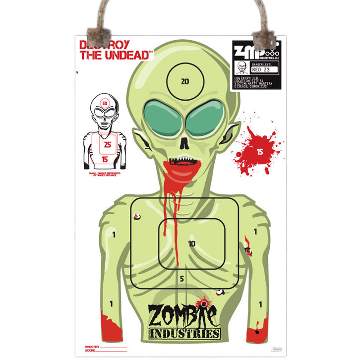 Colossal Paper Shooting Target - Zombie Alien - 10 Pack