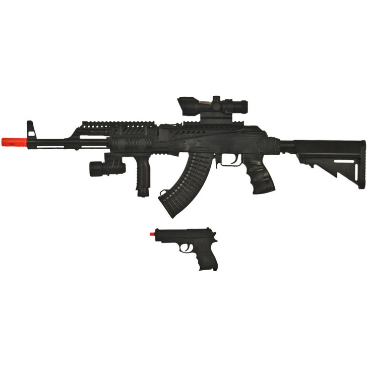 Tactical AK47 Spring Rifle and Pistol Airsoft Combo