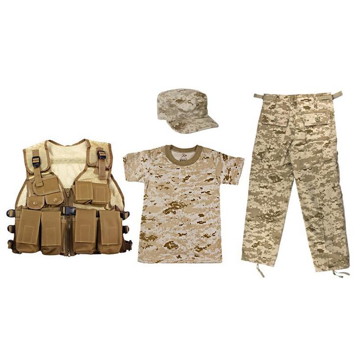 Kids Desert Digital Military Drill Cap, Kids-Army Coyote Tan Combat Vest, Kids Desert Digital T Shirt, Kids Desert Digital BDU Pants