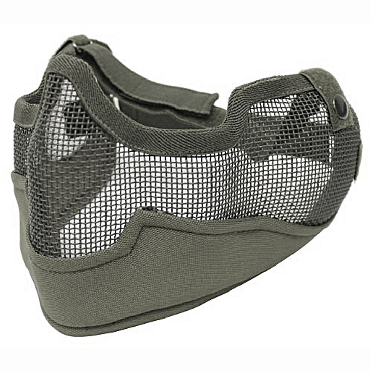 Tactical Metal Mesh Half Mask with Ear Protection for Airsoft in OD Green