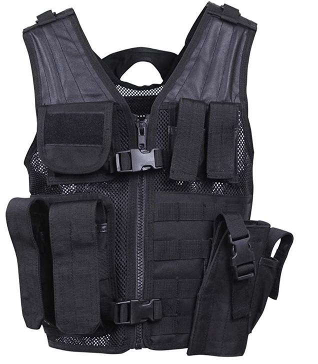 Kids-Army Cross Draw Vest Black